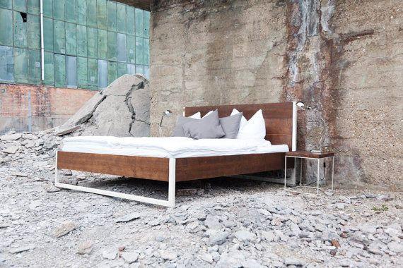 Loft Vintage Industrial Bett Massivholz Stahl Weiss Von N51e12