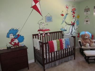 Baby Boyu0027s Dr Seuss Nursery With Trend Lab Crib Bedding Set And Wall Art  Painted By