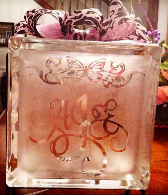 #Personalized Etched Glass Night Light. A Perfect #gift