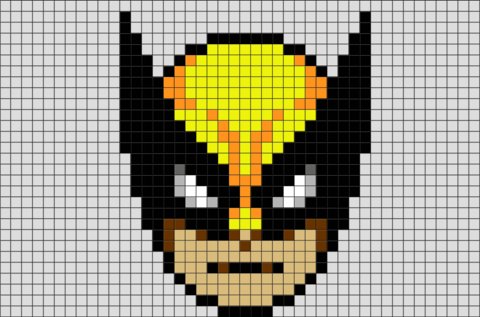 Wolverine Face Pixel Art Pixel Art Canvas Patterns Art