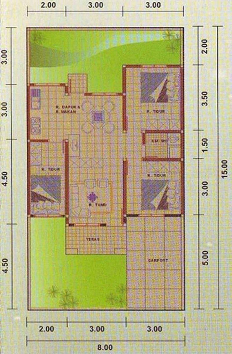 Denah Rumah Minimalis 8x15 1 Lantai Yang Terbaru Rumah Minimalis Desain Rumah Desain