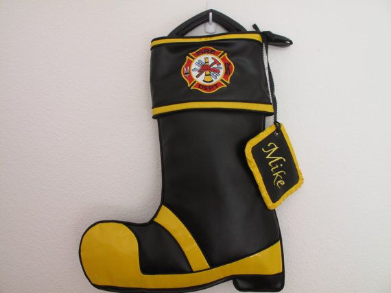 Firefighter Christmas Stocking.Firefighter Stocking Sewing Crochet Knitting Stockings