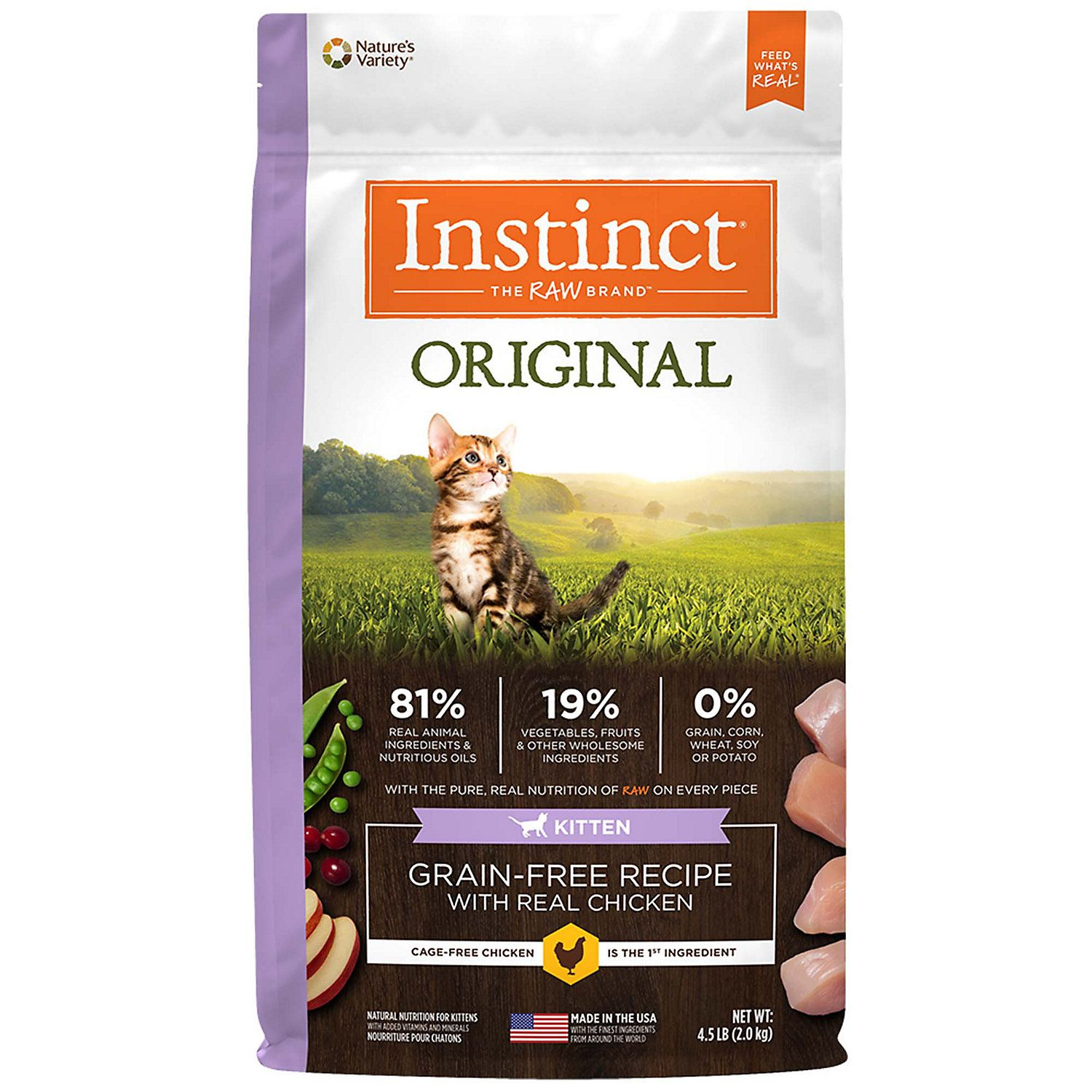 Instinct Original Kitten Grain Free Recipe With Real Chicken Freeze Dried Raw Coated Dry Food 4 5 Lbs Petco Natural Cat Food Grain Free Recipes Dry Cat Food