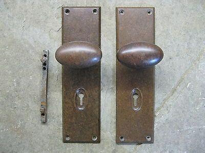 Pr original 1930s art deco bakelite walnut oval door knobs