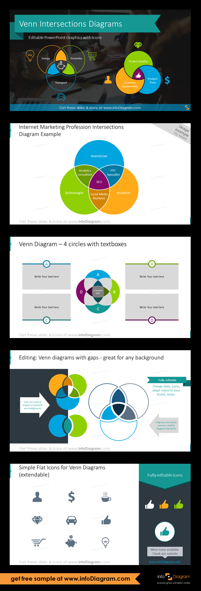 Venn Intersection Diagrams Template (PPT graphics) Venn