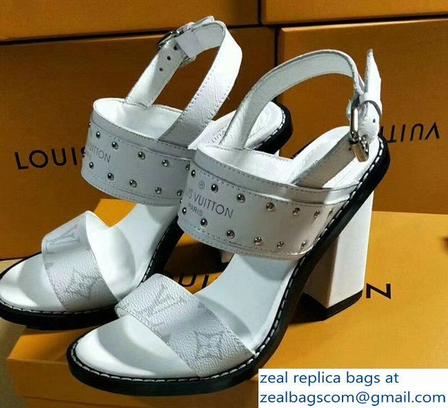 902abdf1206 Louis Vuitton Monogram Canvas and Golden Studs Heel 9.5cm Nomad Sandals  White 2018