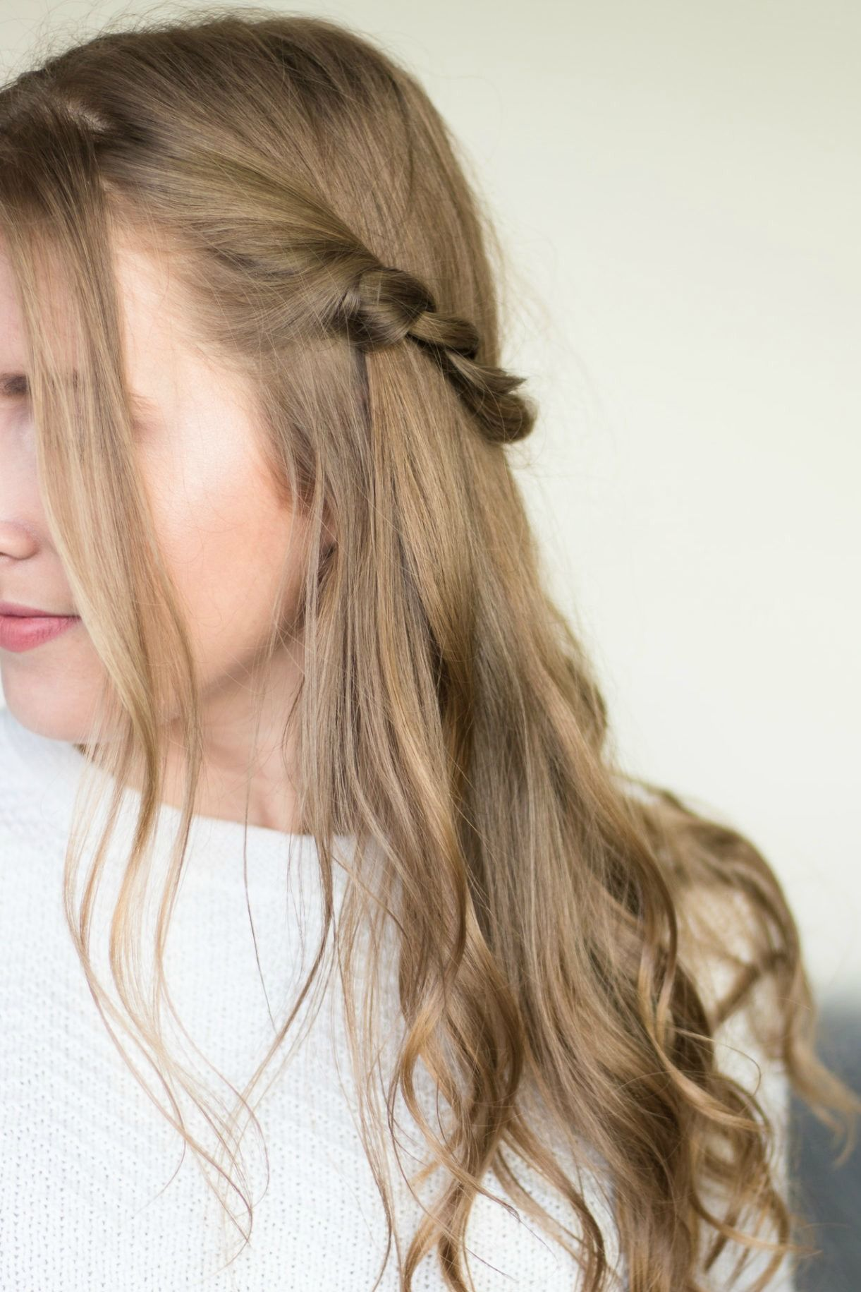 Half-up twisted hair style with soft waves hair tutorial  Quick