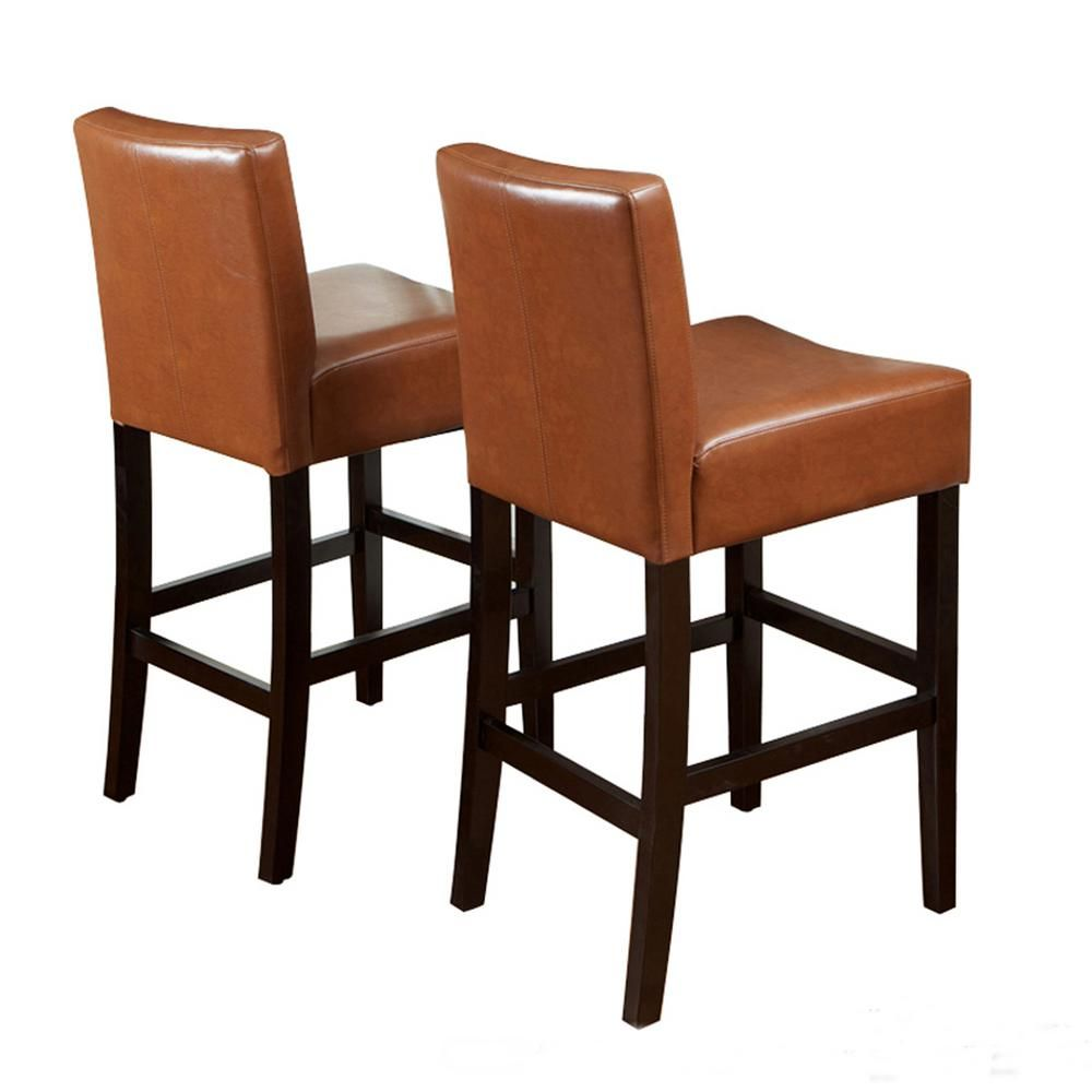 Noble House Lopez 26 In Hazelnut Leather Counter Stool Set Of 2