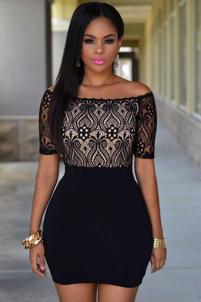 a81d5f2677c ... sexy little black dress. This sexy bold color dress features floral lace  top with contrast lining on the front