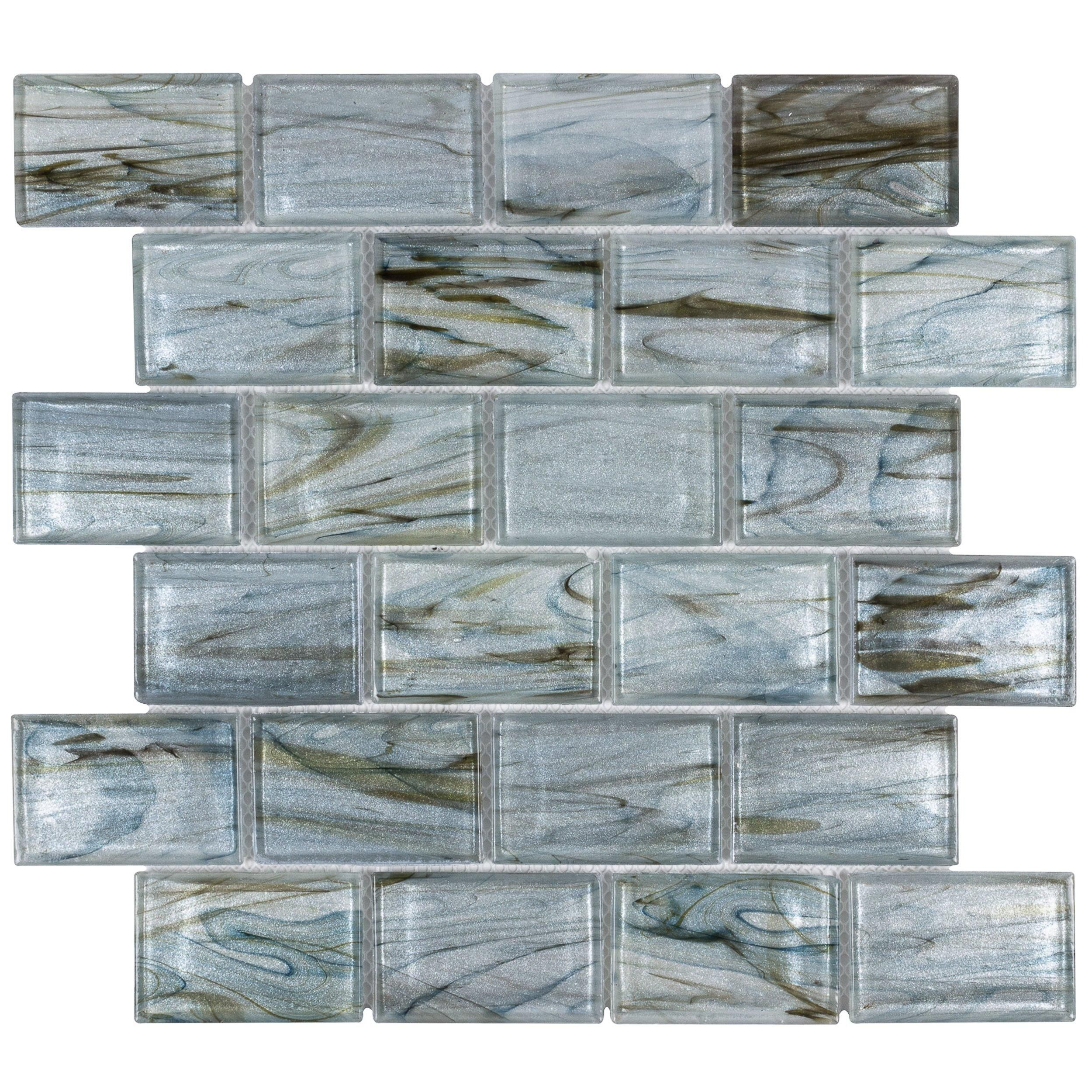 Aurora Sky 2 X 3 In Brick Glass Mosaic Aurora Sky Mosaic Glass Glass Mosaic Tiles
