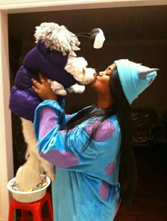 Diy Dog Costume Monsters Inc Sulley Boo Dressed As A Monster