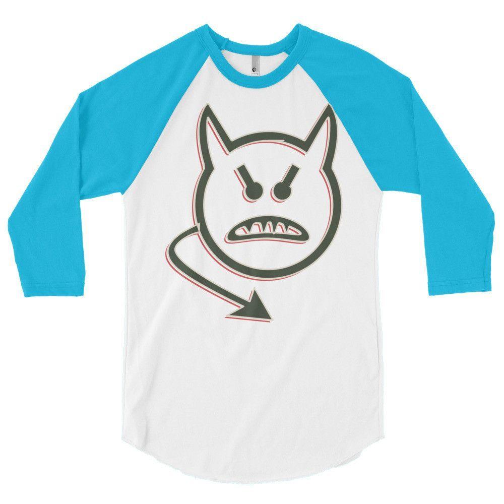 Devilish Smiley 3/4 Sleeve Raglan Shirt