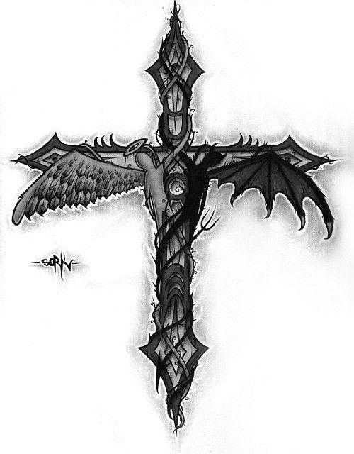 Simple Good And Evil Tattoo : simple, tattoo, Angel, Demon, Tatoo, Tattoos,, Tattoo,, Tattoos