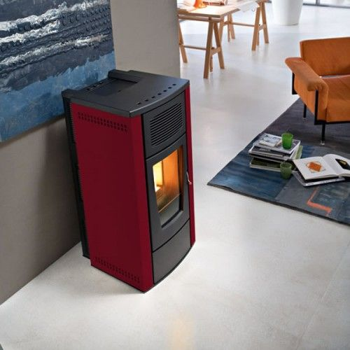 The Mcz Gardenia 10kw Pellet Stove Hydro Structure Comes In A Choice Of Finishes Shown Here In Bordeaux Pellet Stove Wood Stove Fireplace Stove