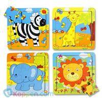 Puzzel wilde dieren, hout, 18M+. Een puzzel van wilde dieren. De puzzel heeft negen stukjes en staat afgebeeld op de achtergrond. De puzzels worden door elkaar geleverd. http://www.koppen.com/producten/categorie/baby-peuter/sub-categorie/houten-speelgoed/geslacht/jongen/leeftijd/vanaf-18-tot-36-maanden/materiaal/hout/merk/koppen-eigen-merk/aanbieding/all/prijs/-1,00-2,00/product/65110# Prijs: € 1,12