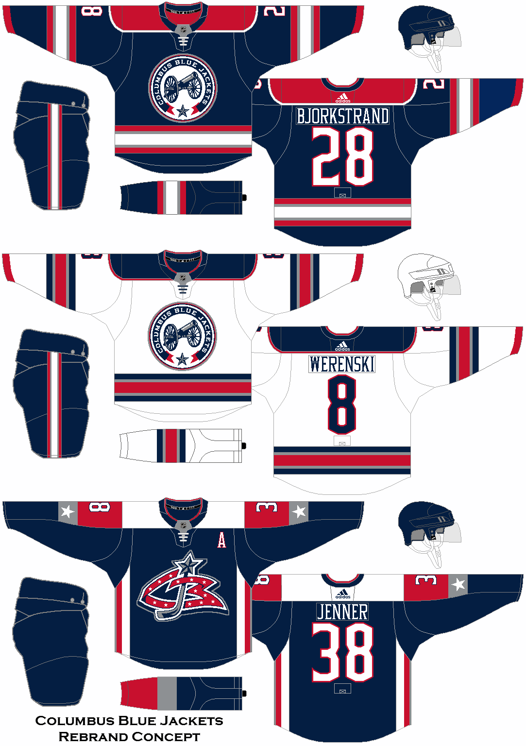 Columbus Blue Jackets Rebrand Uniform Set Concept Columbus Blue Jackets Jersey Design Blue Jacket