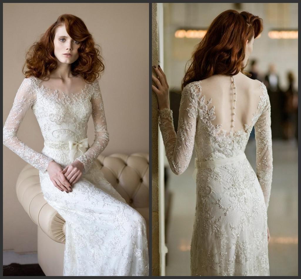Wholesale Lace Wedding Dresses - Buy Elegant Lace Sheath Wedding ...