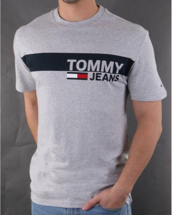 Tommy Hilfiger Box Logo Tee Light Grey Heather Tommy Hilfiger T Shirt Polo Shirt Outfits Mens Tshirts