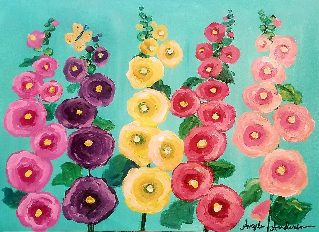 Hollyhocks Cotton Swab Acrylic Painting Tutorial Live On Youtube By