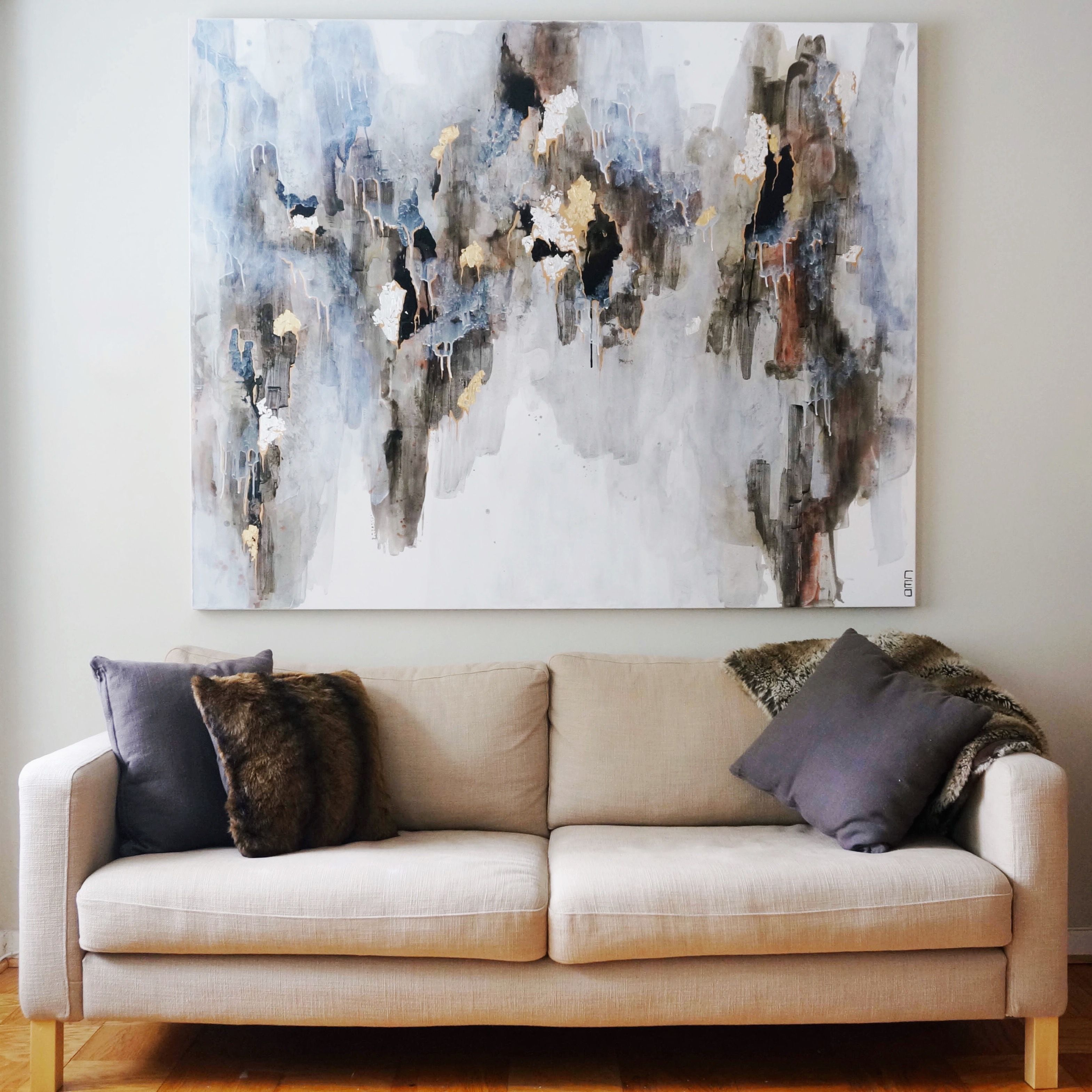 Hanging this painting on the wall wasn\'t easy. This large black grey ...