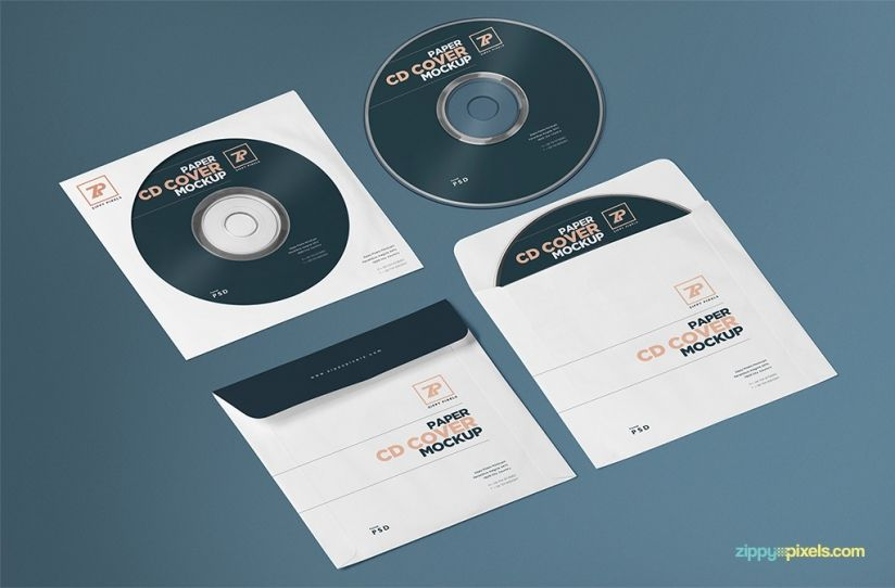Free Paper CD Cover Mockup + CD Mockup PSD (3509 MB - psd album cover template
