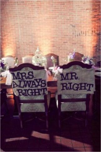 the mr. mrs chair decor love it! Ahaha