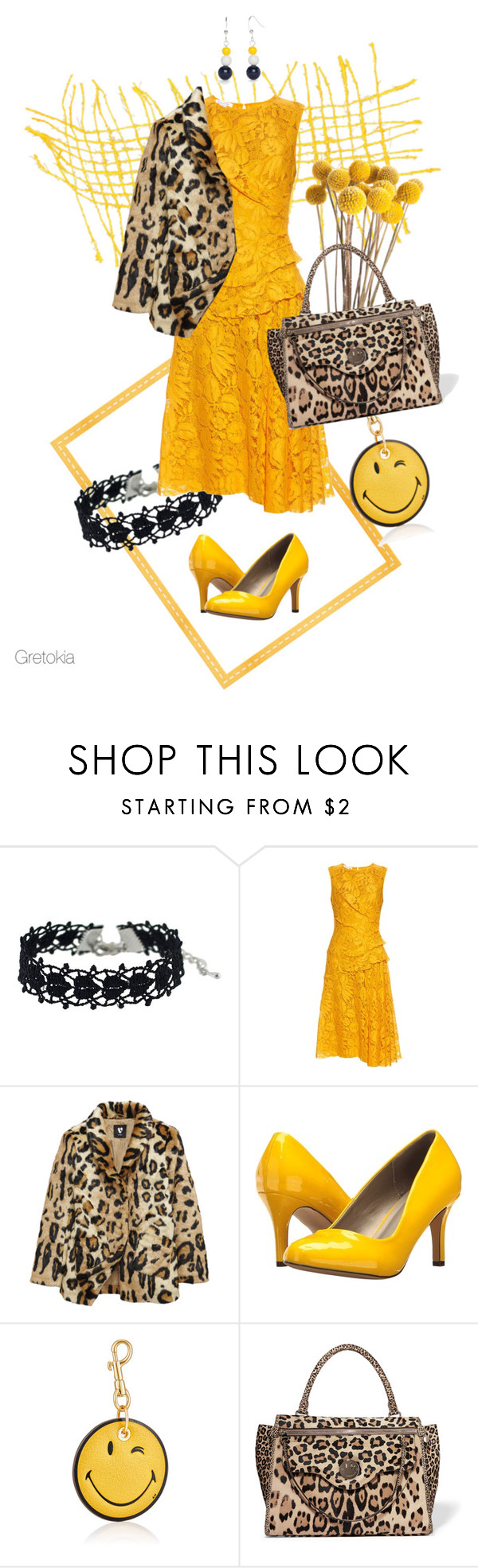 """Sunny"" by gretokia ❤ liked on Polyvore featuring Oscar de la Renta, Michael Antonio, Anya Hindmarch, Hill & Friends, Kim Rogers, yellow, sun, dress, lace and sunny"