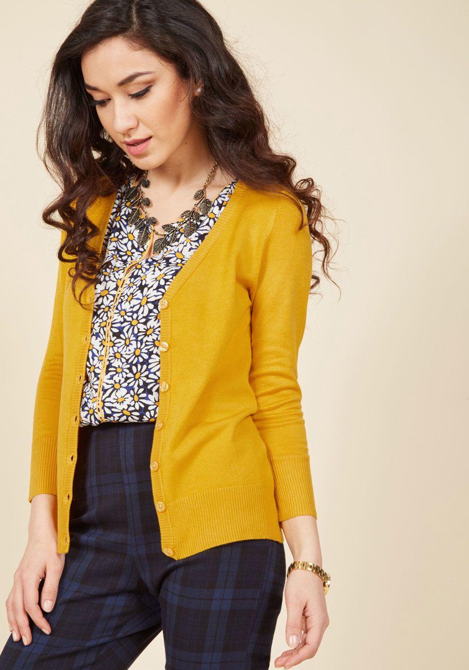Charter School Cardigan in Honey in XL | ModCloth, Yellow sweater ...