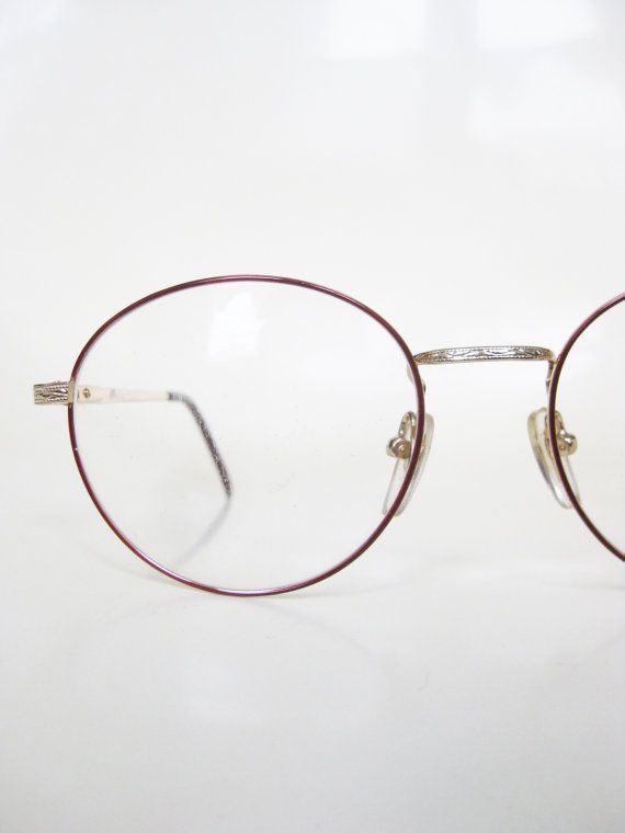 67e139a4f4 Round Wire Rim Eyeglasses 1980s Womens Vintage Glasses Geek Chic Burgundy  Wine Dark Red Nerdy Frames Optical Rims Deadstock NOS