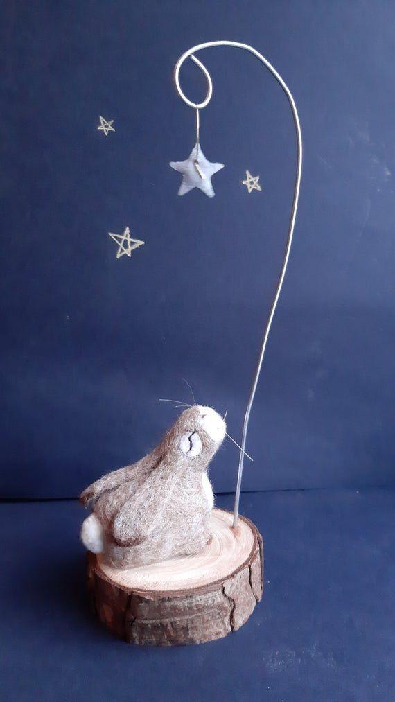 Stargazing Bunny/ Needle Felted Rabbit/ Felt Rabbit/ Needle Felt Animal/ Cute Bunny Sculpture/ Felt Hare/ Stargazing Hare/ Needle Felt Hare #needlefeltedbunny Stargazing Bunny/ Needle Felted Rabbit/ Felt Rabbit/ Needle Felt Animal/ Cute Bunny Sculpture/ Felt #needlefeltedbunny