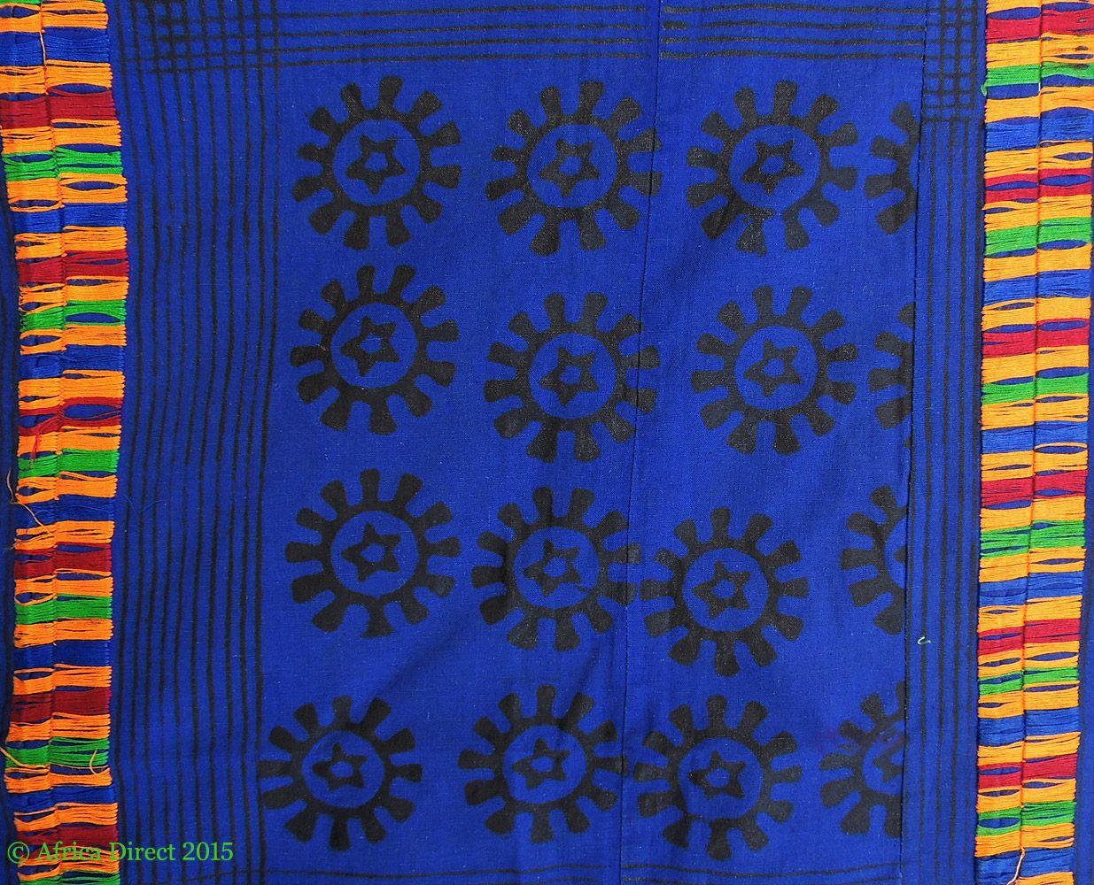 Adinkra Stamped Cloth Asante Ghana Large Africa 10 x 6 Feet - African Textiles - Wall Art