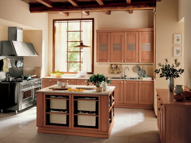 Cocina en madera de roble y pared beige interiores beige - Cocinas color roble ...