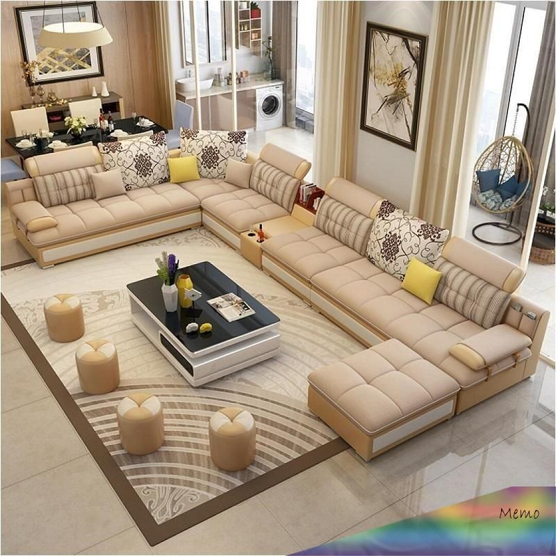 Jul 16 2019 Luxury Modern U Shaped Leather Fabric Corner Sectional Sofa Set Design Couches For In 2020 Corner Sectional Sofa Sofa Set Designs Room Furniture Design