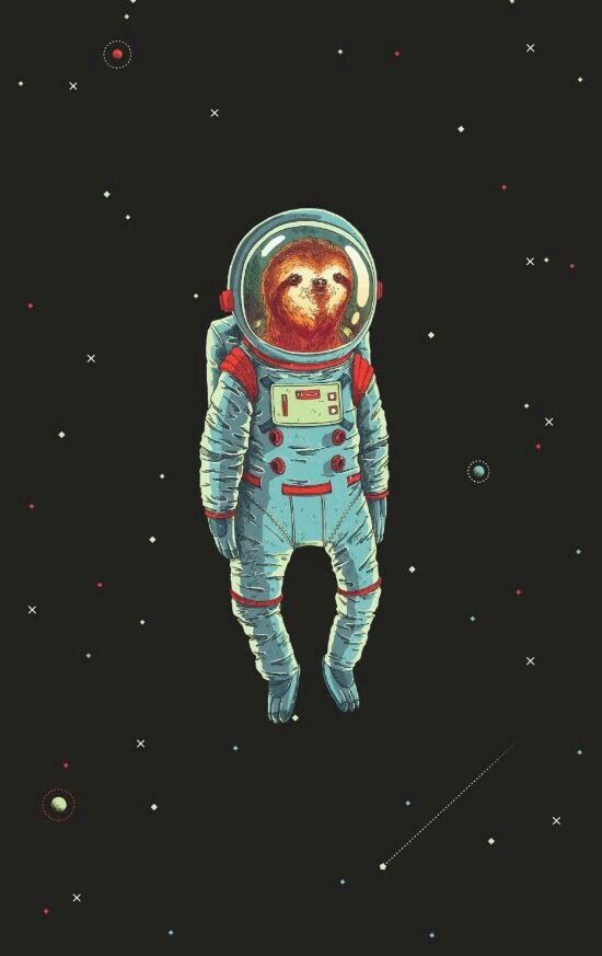 Sloth, space, Sloth in space, astronaut Art, Space art