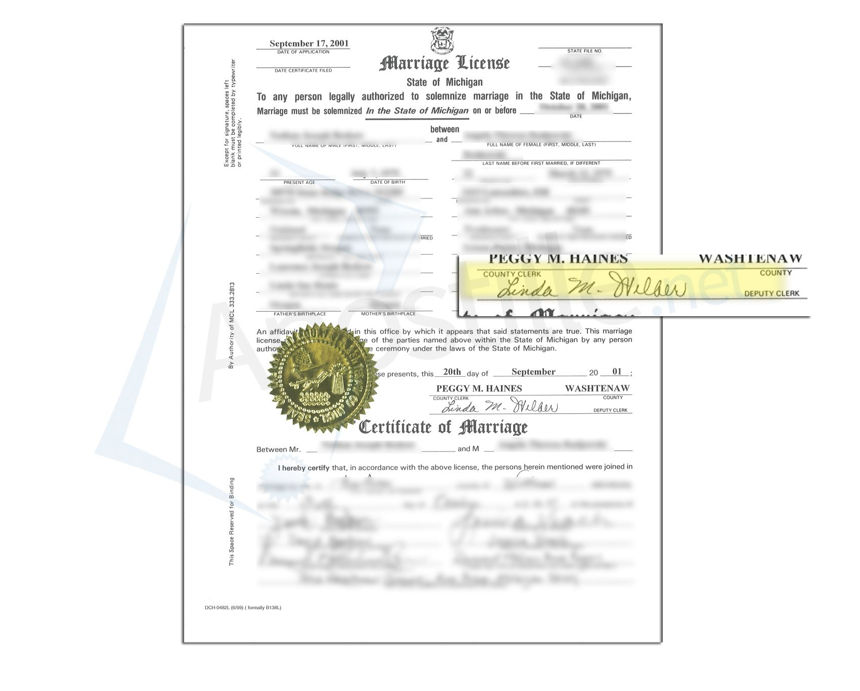 County Of Washtenaw State Of Michigan Marriage License Signed By A