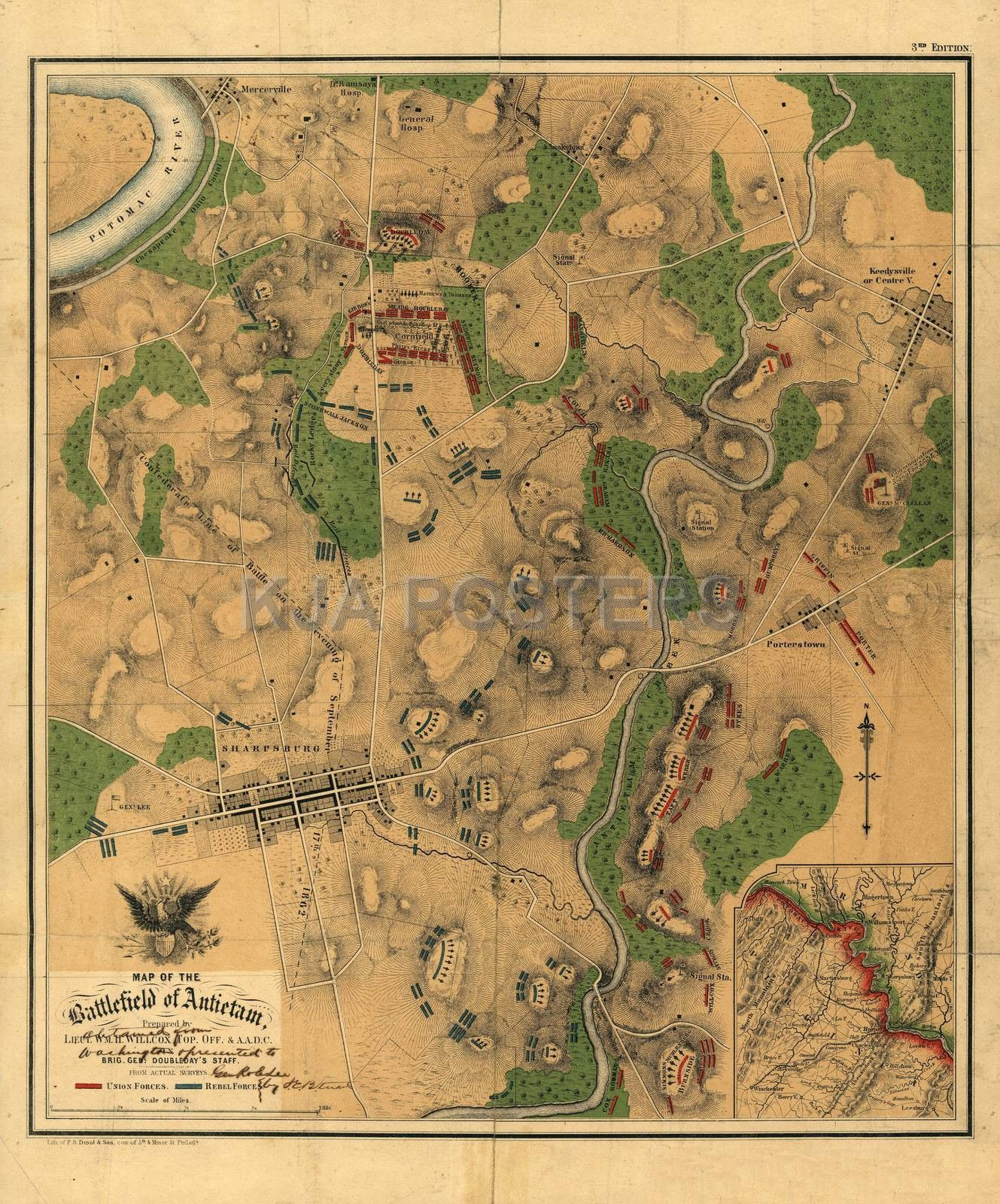 civil war map of the battlefield of antietam 1862