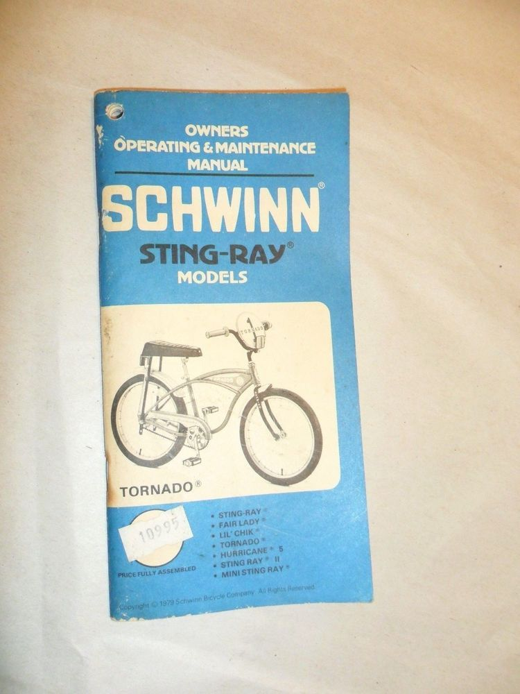 vintage 1979 schwinn sting ray stingray tornado owners manual bike rh pinterest com schwinn 270 recumbent bike owner's manual schwinn recumbent bike owner's manual
