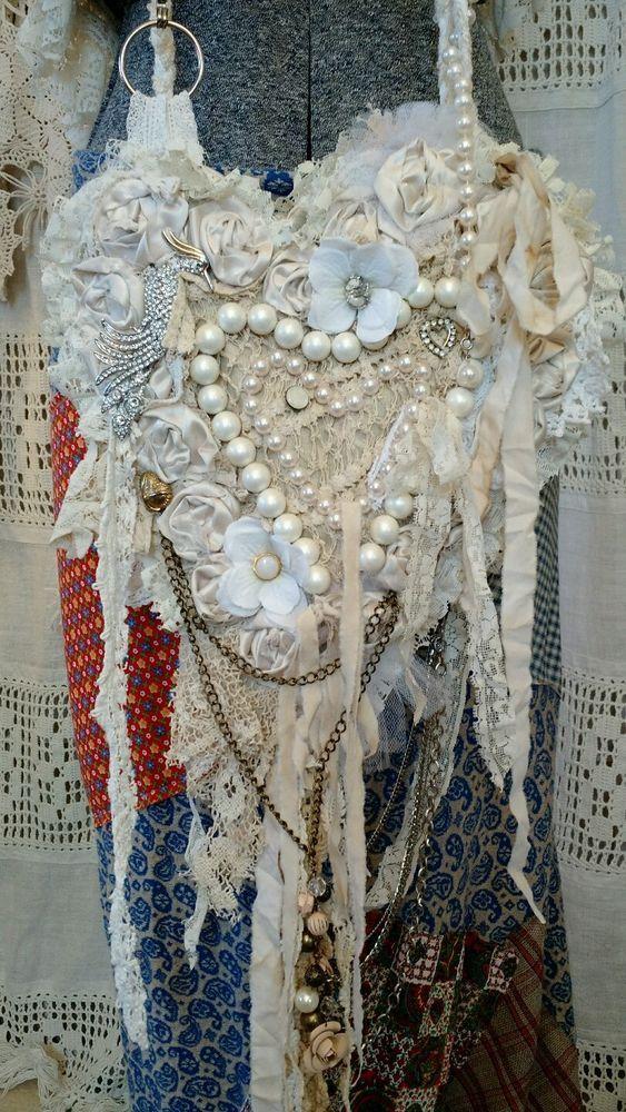 Handmade Vintage Lace Cross Body Artisan Bag Boho Wedding