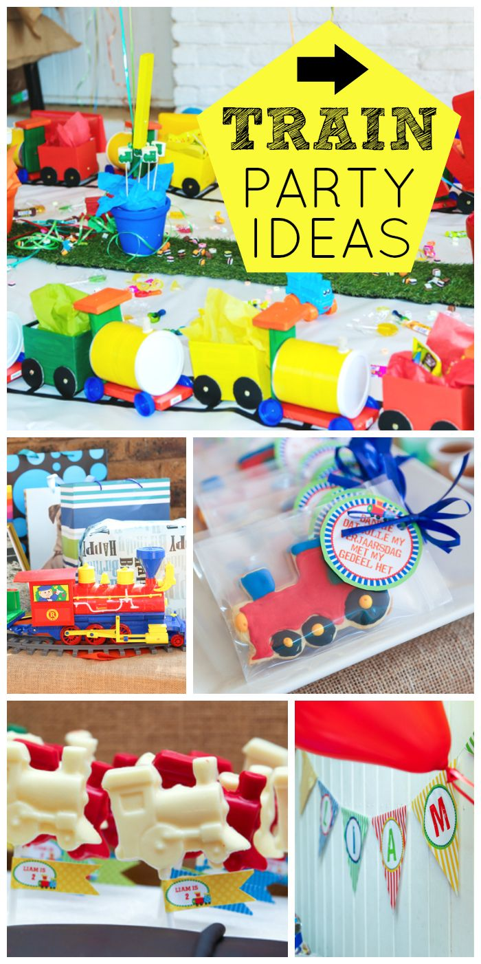A Colorful Train Boy Birthday Party With Cake Cookies And Lollipops See More Ideas At CatchMyParty