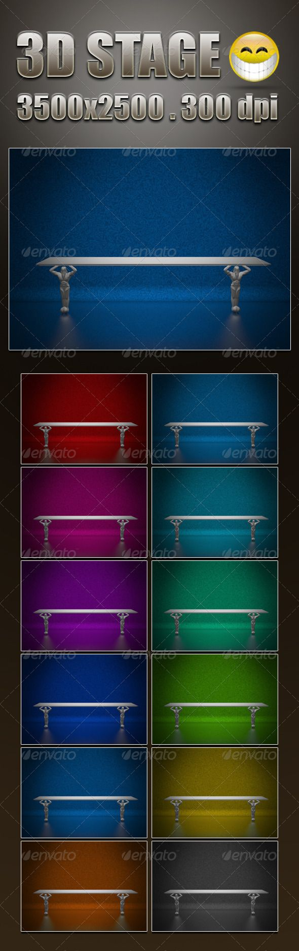 3D Stage   #GraphicRiver         3D Stage in RGB mode 3500×2500px – 300dpi Main archive includes: 12 JPG files, Preview file and thumb   Enjoy!!     Created: 28August12 GraphicsFilesIncluded: JPGImage HighResolution: No Layered: No MinimumAdobeCSVersion: CS PixelDimensions: 3500x2500 PrintDimensions: 11.667x8.333 Tags: 3dstage #advertisement #antique #background #beam #bg #board #box #color #colorful #dark #different #display #gallery #happiness #interior #light #lights #old #pattern…