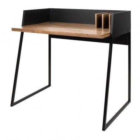 Compact Bureau Zwart Met Hout Home Styling Zwart