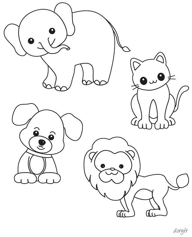 Dessin à imprimer, plusieurs animaux sur une même page | Coloriage, Dessin a imprimer, Chien