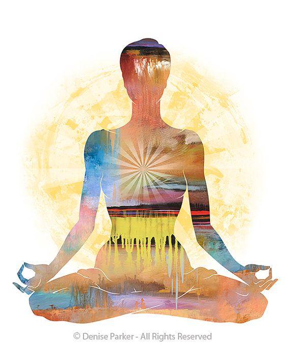 Arte Yoga Postura Del Loto Sol Colores Fina Lamina Sobre Papel Con Textura Calmante Suave Colores Para Este Hermoso En Yoga Art Yoga Artwork Yoga Drawing