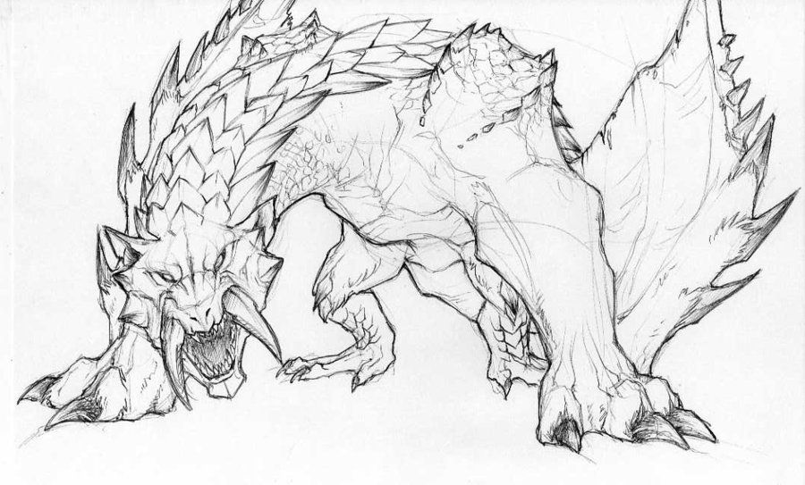 Barioth Sketch by Anuwolf | Sketches, Monster hunter ...