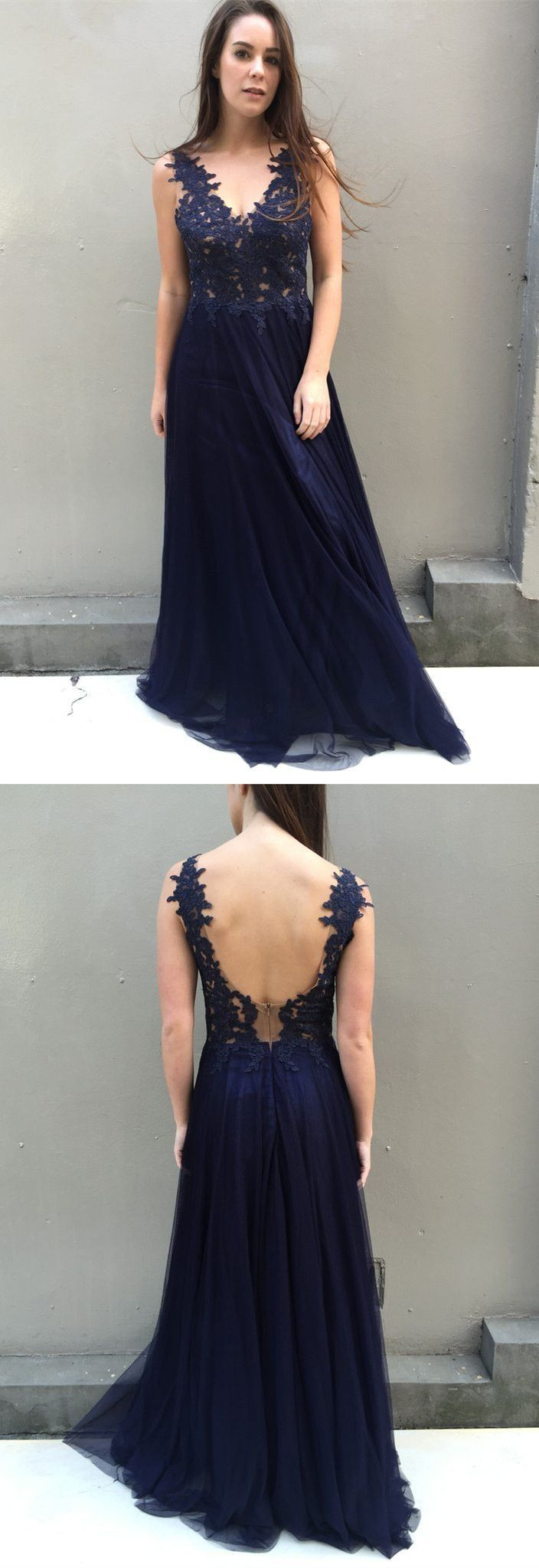 Custom made trendy prom dresses long prom dresses navy prom