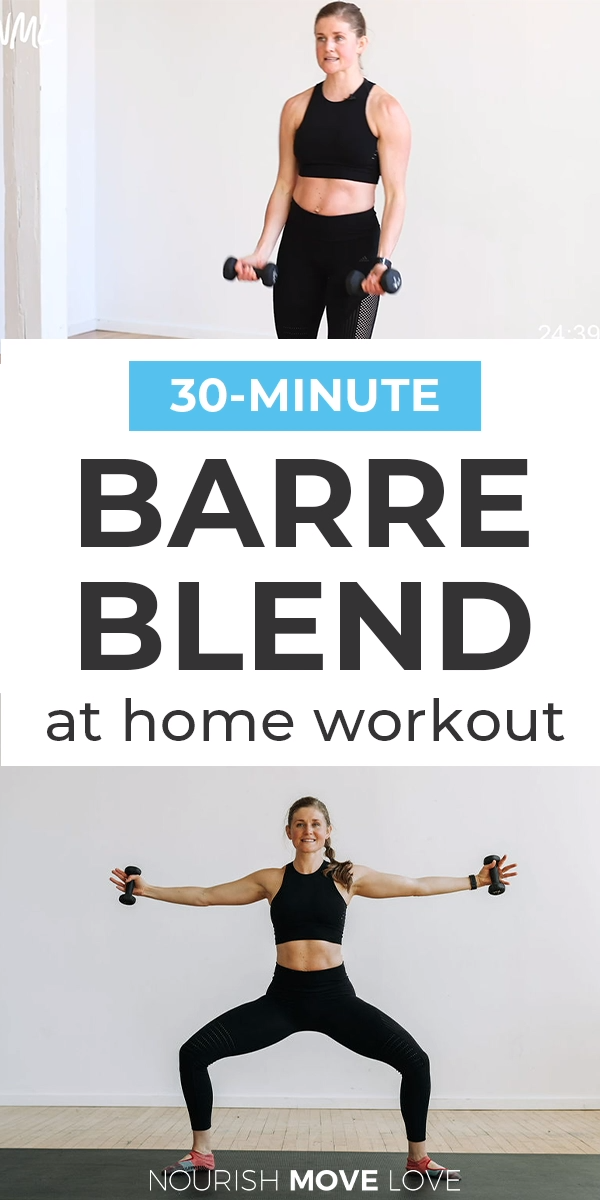 Sculpt, tone and BURN -- that's the motto of this 30-Minute Cardio Barre Workout video! If you haven't tried barre before, this is a great intro - it combines strength training and HIIT bursts in a nontraditional barre format. This is an ATHLETIC BARRE workout - and a full body burn!