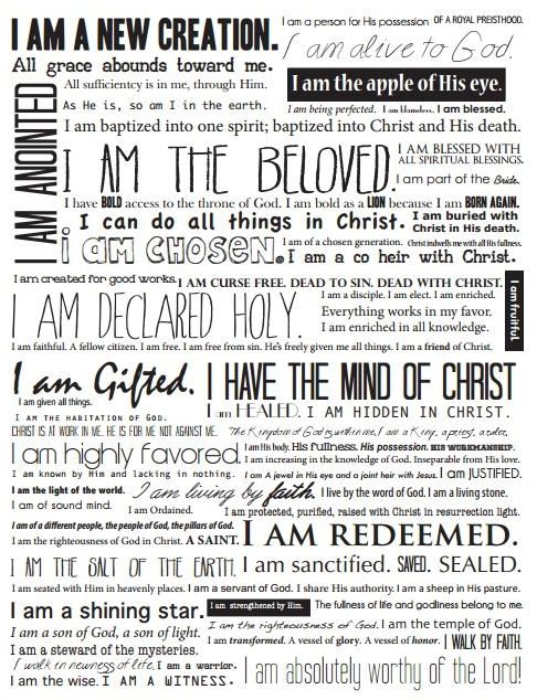 Dramatic image pertaining to who i am in christ printable bookmark
