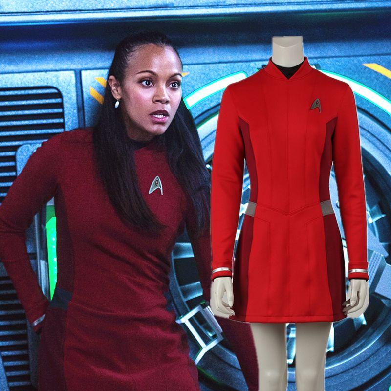 star trek beyond uhura costume dress cosplay star trek uniform red dress with free badge adult - Uhura Halloween Costume