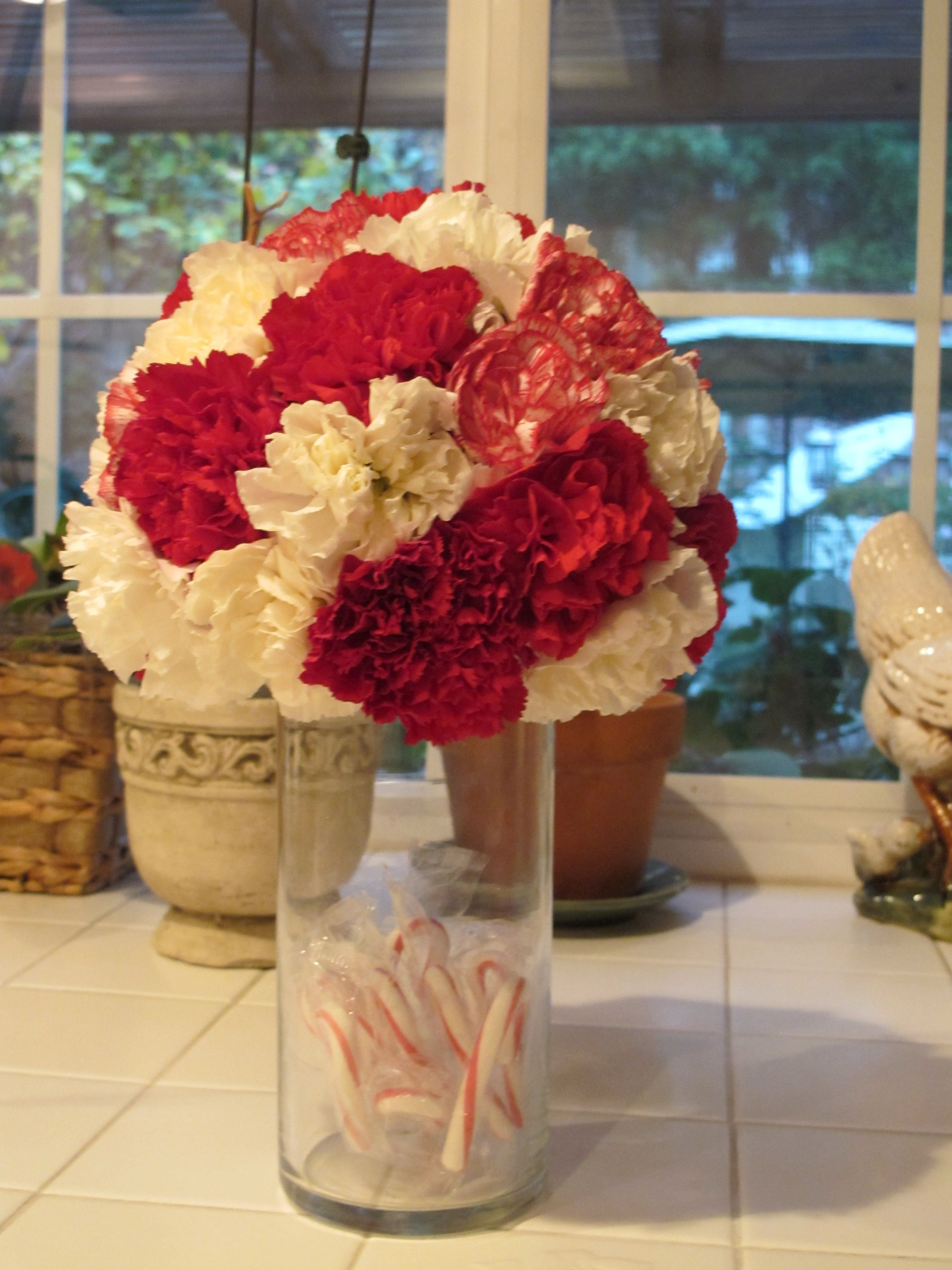 Artificial Flower Pomander On A Gl Vase You Can Put Anything In The Bottom For