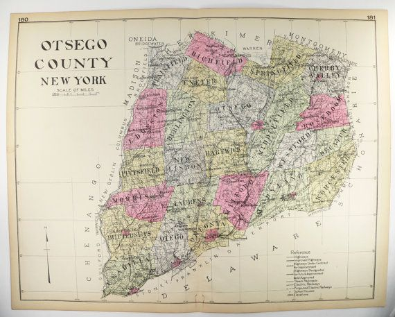 1912 Otsego County NY Map New York County Map Historical